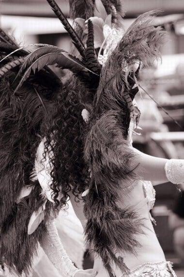 カーニバルで派手な衣装で踊る夢