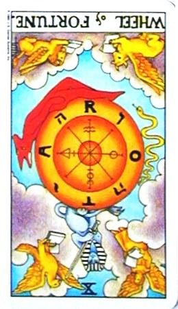 銀貨のカード:運命の輪 - Wheel of Fortuneの逆位置