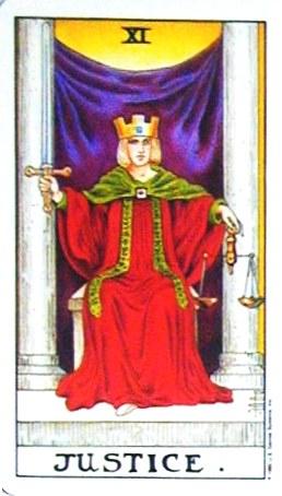 銀貨のカード:正義 - Justiceの正位置