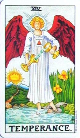 銀貨のカード:節制 - Temperanceの正位置