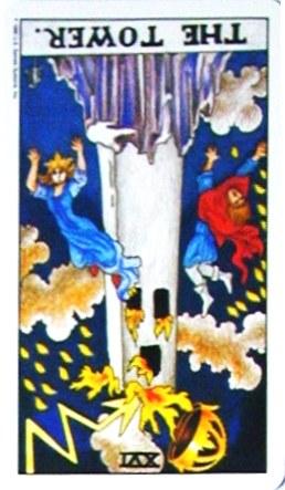 銀貨のカード:塔 - The Towerの逆位置
