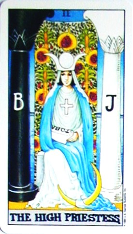金貨のカード:女教皇 - The HighPriestessの正位置