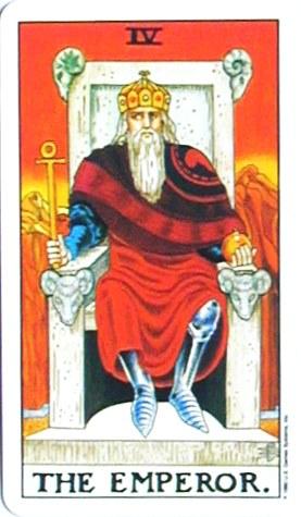 金貨のカード:皇帝 - The Emperorの正位置