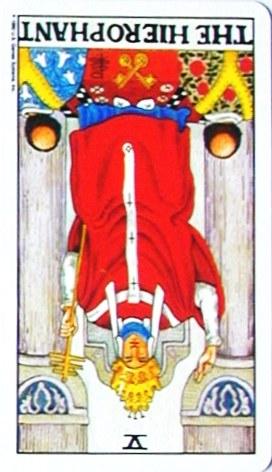 金貨のカード:教皇 - Hierophantの逆位置