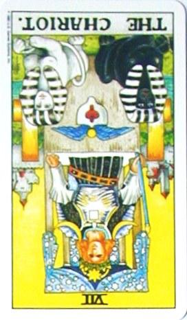 金貨のカード:戦車 - The Chariotの逆位置