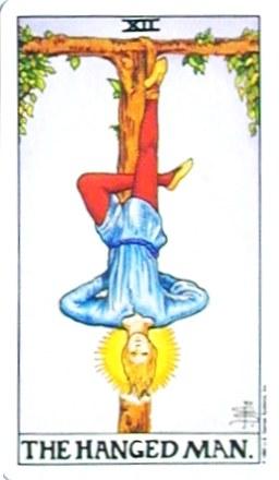 銀貨のカード:吊るされた男 - The Hanged Manの正位置